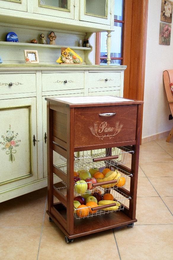 House carrello cucina porta pane legno massello marrone noce piano mattonella ebay - Divanetti da cucina ...